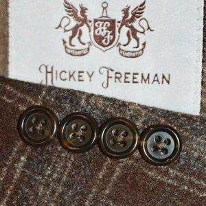 NEW 44L Hickey Freeman Brown Plaid TWEED BLAZER
